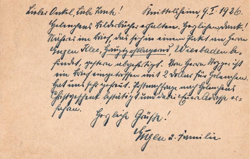 Eugen Haas to Eugen Klee, January 9, 1926, postcard (back)