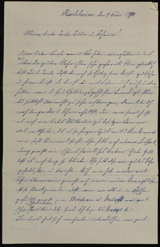 Hofeln family letter, February 9, 1890, p. 1