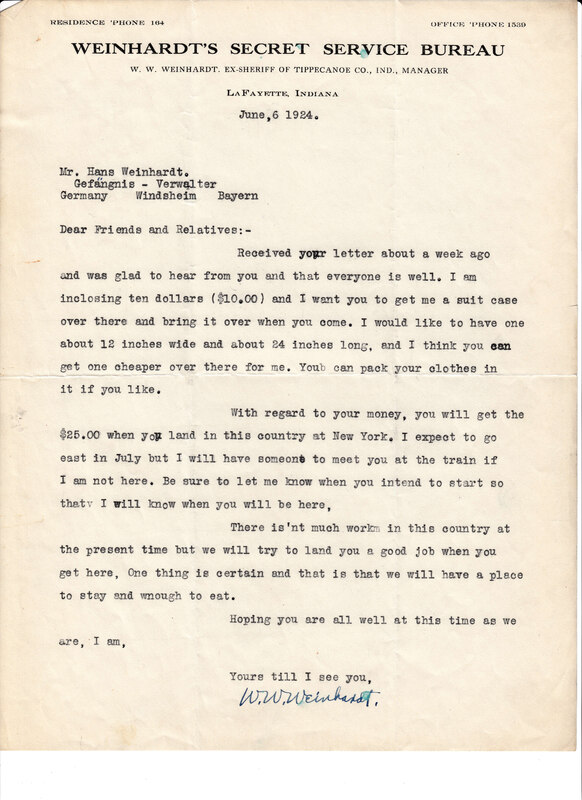 William W. Weinhardt to John V. Weinhardt, June 6, 1924