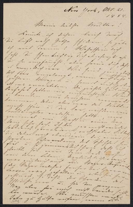 Marie Hansen Taylor to Lina Hansen, October 21, 1858, p. 1