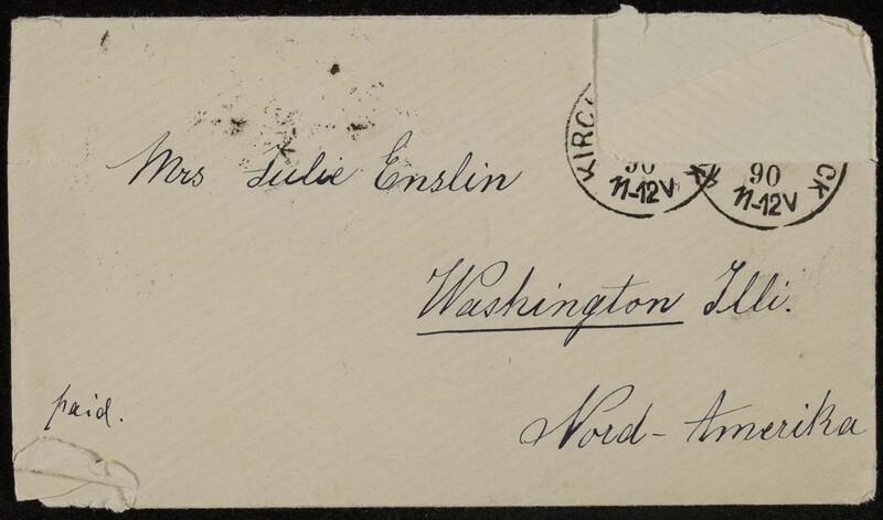 Hofeln family letter, February 9, 1890, envelope (front)