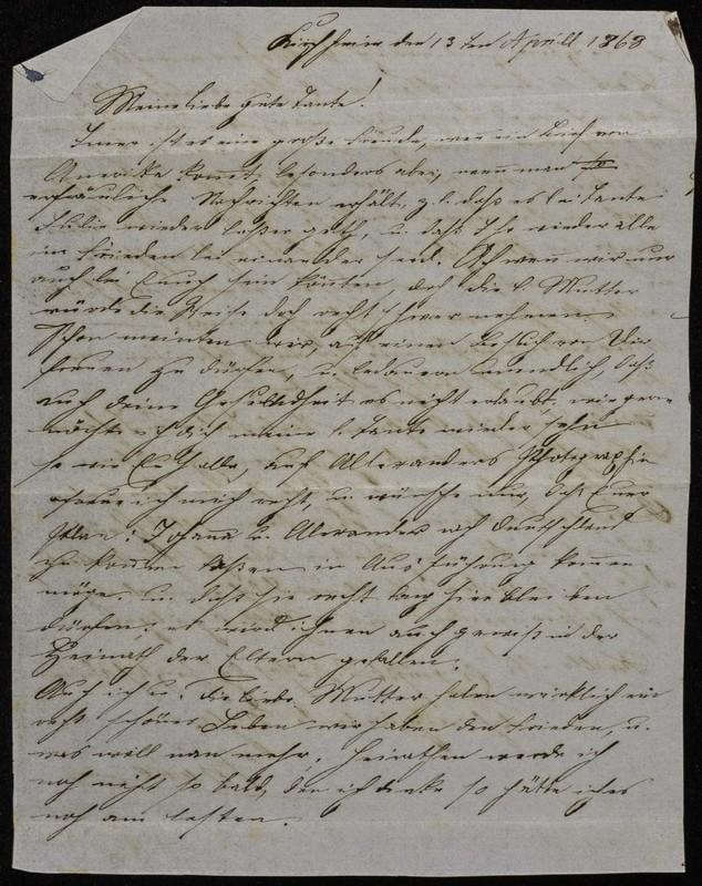 Höfeln family letter, 1868