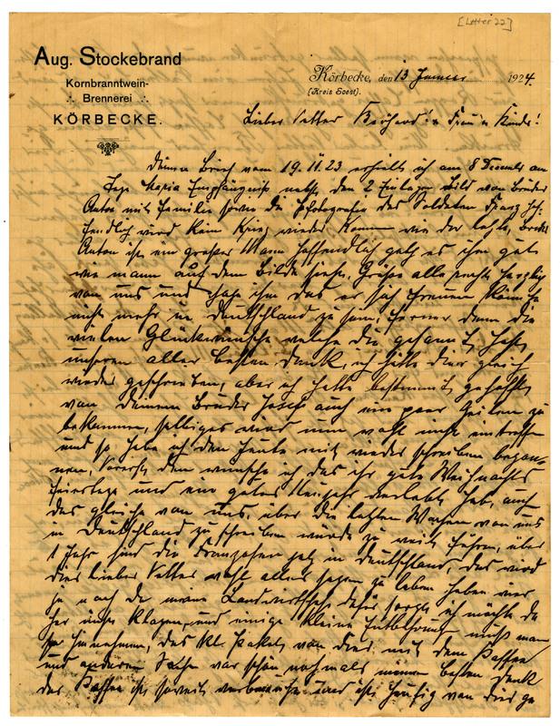 August Stockebrand to Bernard Rustemeyer, January 13, 1924