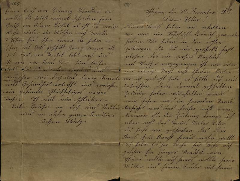 Schulz family letter, Nov. 27, 1889, page 1 [right-hand] and page 4 [left-hand]