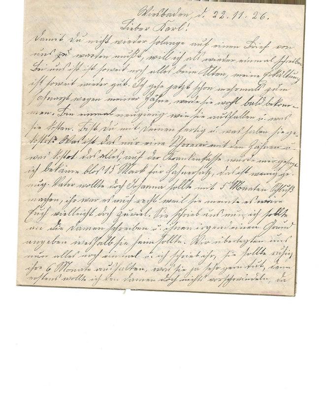 Caroline Emmel to Karl Emmel, November 22, 1926