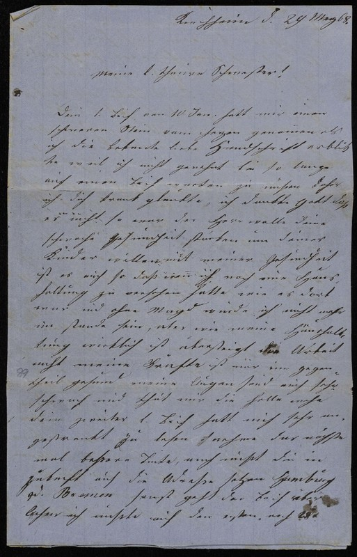 Höfeln family letter, April 13, 1868