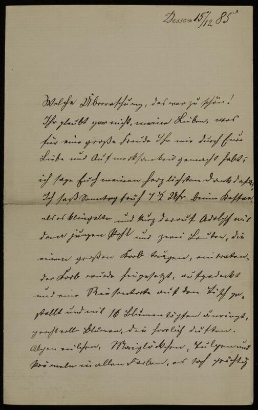 Anna Oppenheim to Margarethe Raster, December 16, 1885