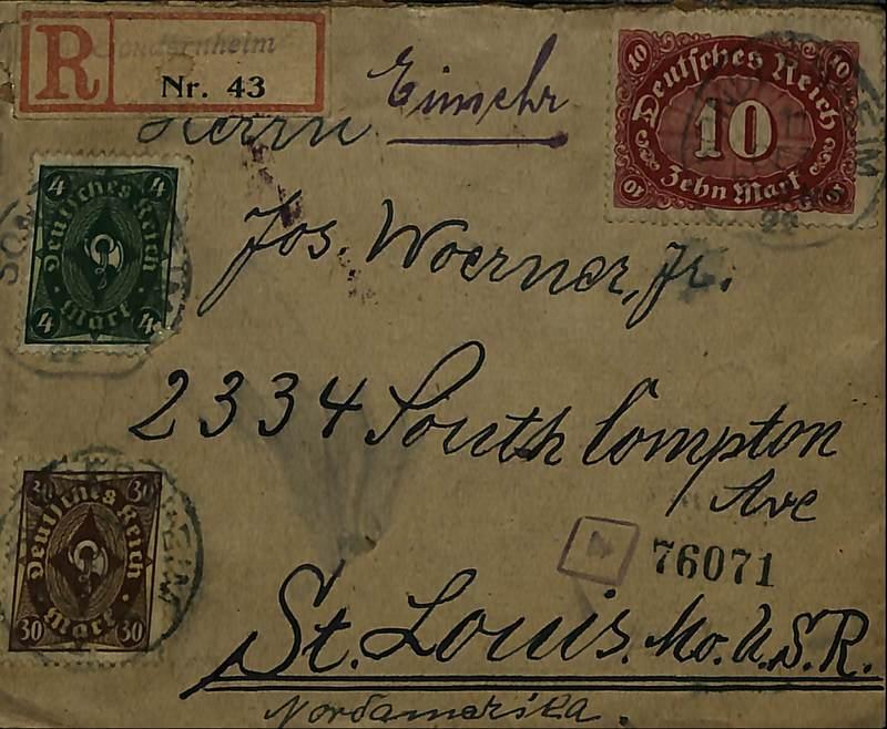 Leonhard Teubel to Joseph Woerner, Dec. 8, 1922, envelope (front)