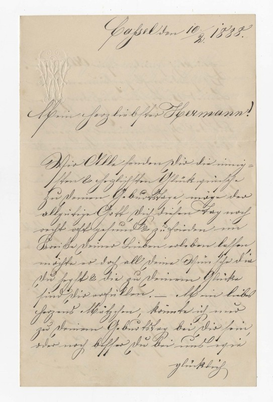 """Therese """"Rosel"""" Winhold to Hermann Crede, February 10, 1888"""