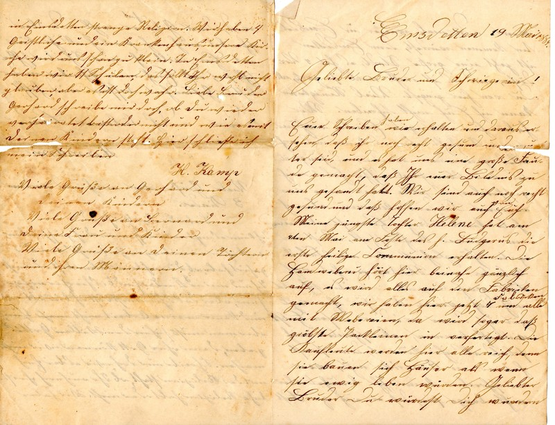 Hermann Kamp to Bernard Kamp, May 19, 1884