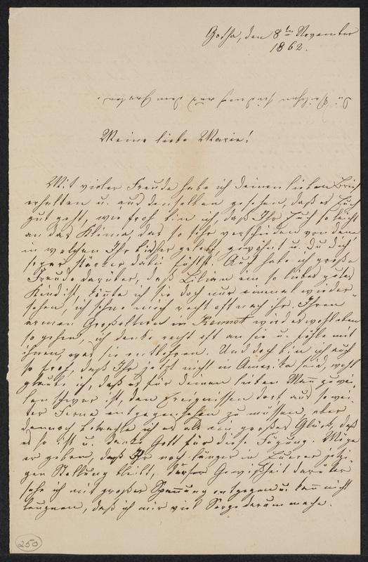 Lina Hansen to Marie Hansen Taylor, November 8, 1862
