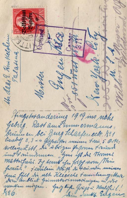 Eugen Haas to Eugen and Emma Klee, July 5, 1919, postcard #6 (back)