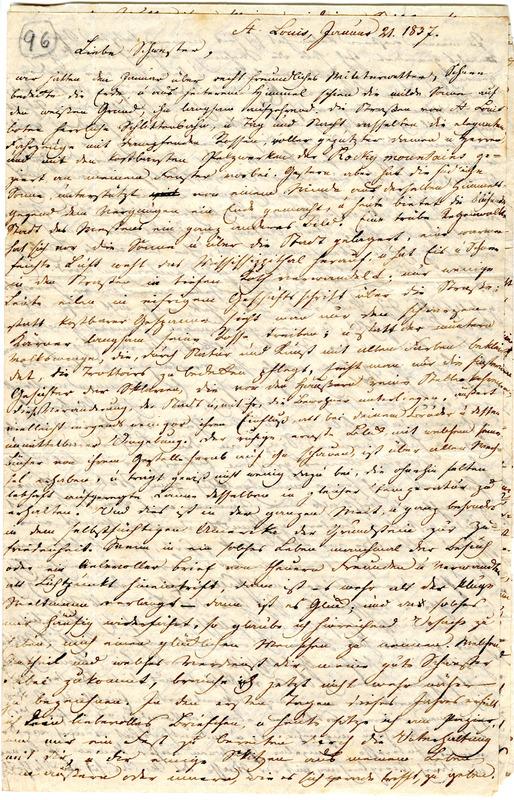 Theodor Engelmann to Margarethe Hilgard, January 21, 1837, p. 1