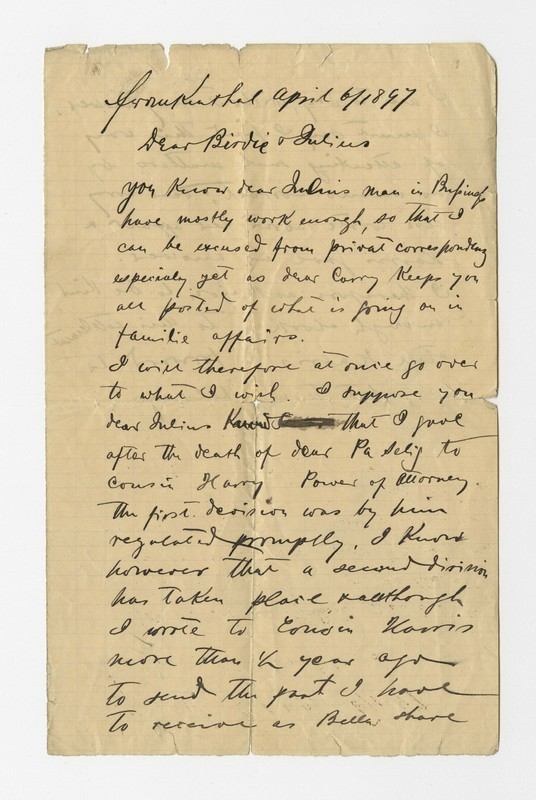 Isaac Schweitzer [?] to Bertha and Julius Gerstle, April 4, 1897 [fragment]