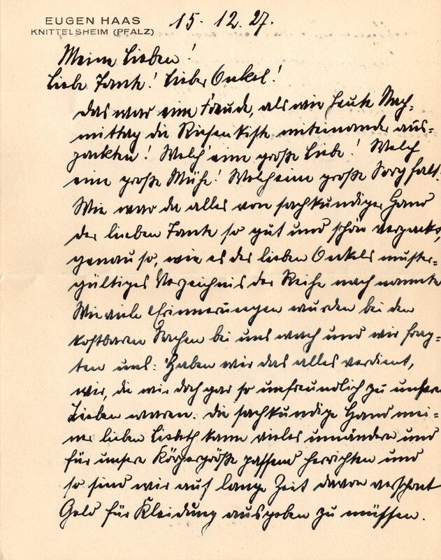 Eugen and Lisbeth Haas to Eugen Klee, December 15, 1927, p. 1