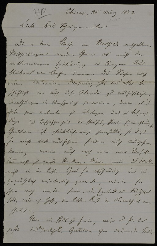 Hermann Raster to Anna Oppenheim, March 25, 1872