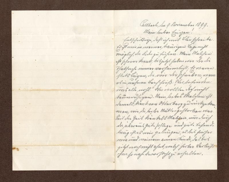 Heinrich Haas to Eugen Klee, November 9, 1899
