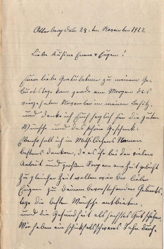 Lenchen Cherdron to Eugen Klee, November 24, 1922