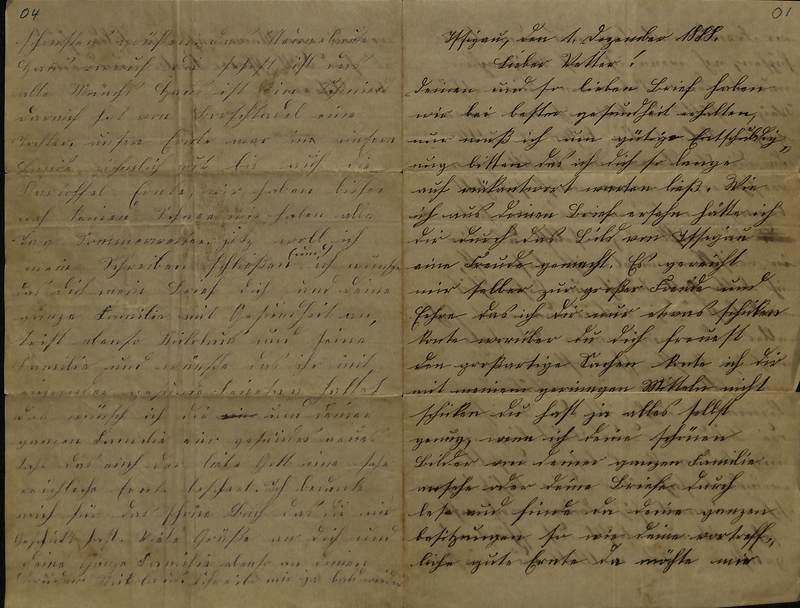 Schulz family letter, December 1, 1888