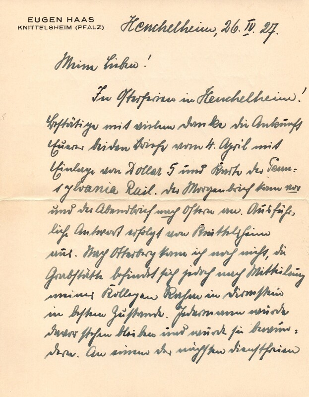 Eugen and Lisbeth Haas to Eugen Klee, April 26, 1927