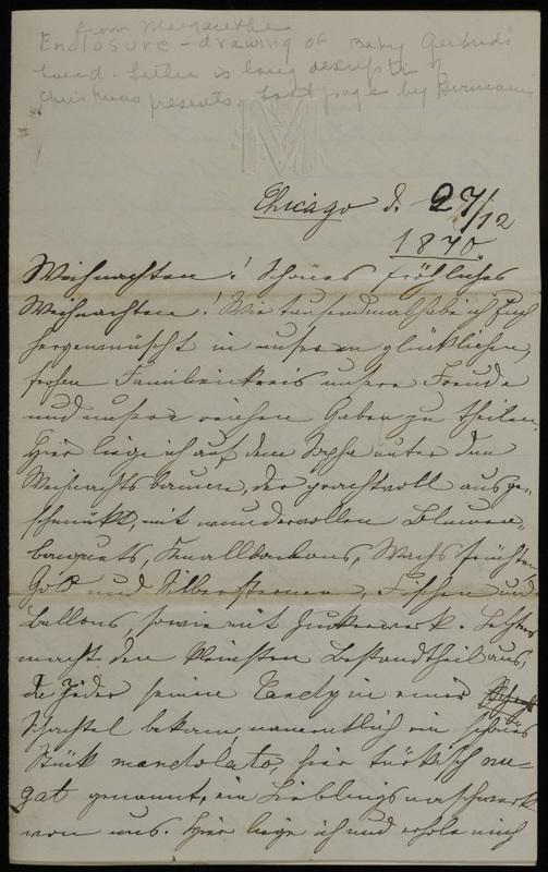 Margarethe Raster and Hermann Raster to Anna Oppenheim, December 27, 1870