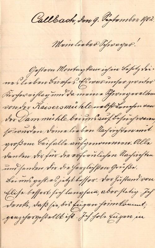 Heinrich Haas to Eugen Klee, September 9, 1902