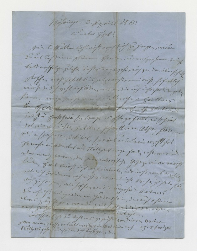 Schweitzer family letter, April 3, 1865