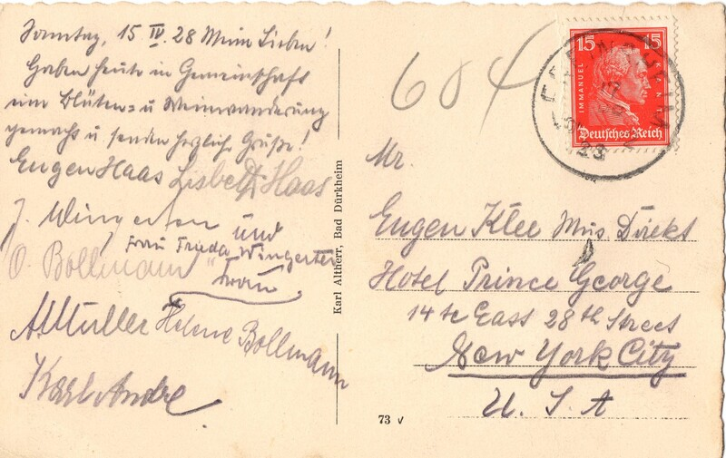 Eugen and Lisbeth Haas to Eugen Klee, April 15, 1928