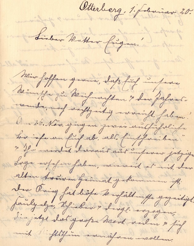 Lenchen Berdel to Eugen Klee, February 1, 1920