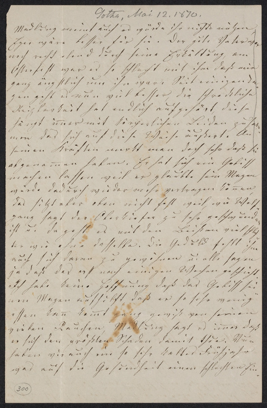 Lina Hansen to Marie Taylor, May 12, 1870