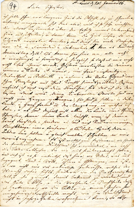 Theodor Engelmann to Margarethe Hilgard, January 20, 1836, p. 1