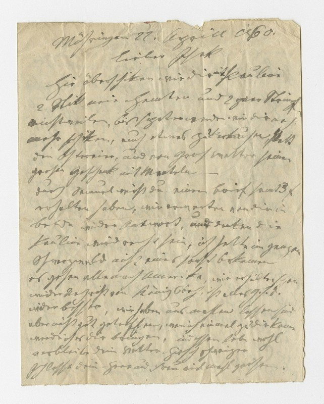 Schweitzer family letter, April 22, 1860
