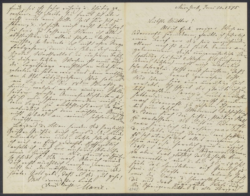Marie Taylor to Lina Hansen, June 30, 1875