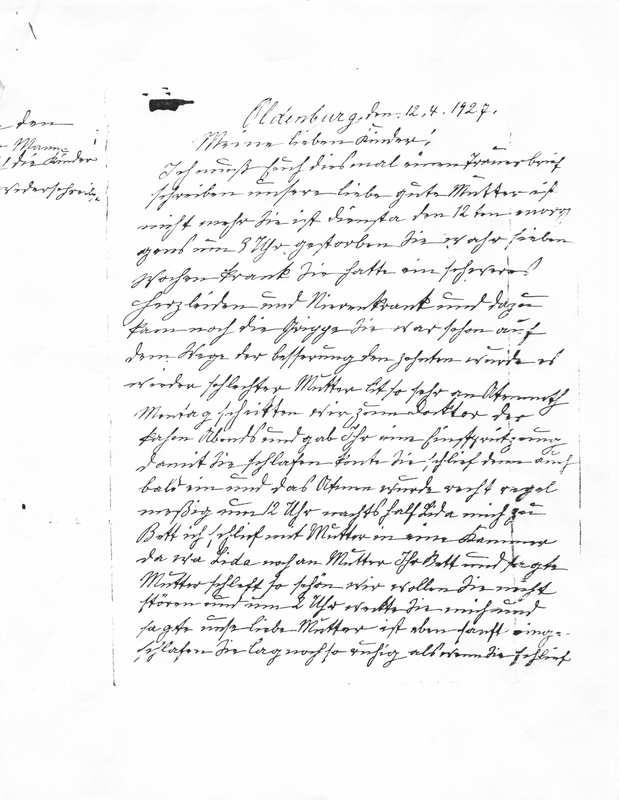 Wilhelm Egberts to Wilhelm Tegtmeyer and George Tegtmeyer, April 12, 1927