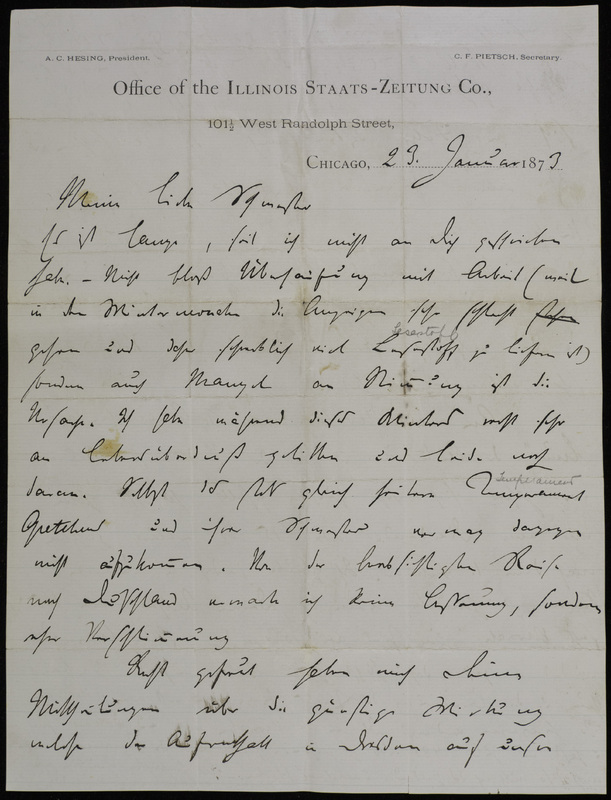Hermann Raster to Sophie Raster, January 23, 1873