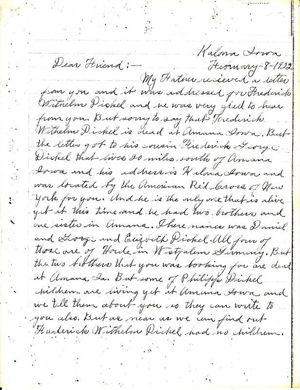 Daniel Dickel to Wilhelm Dickel, February 8, 1922