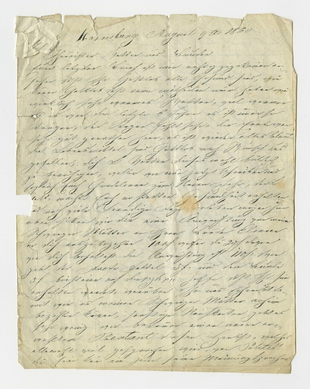 Schweitzer family letter, August 9, 1860