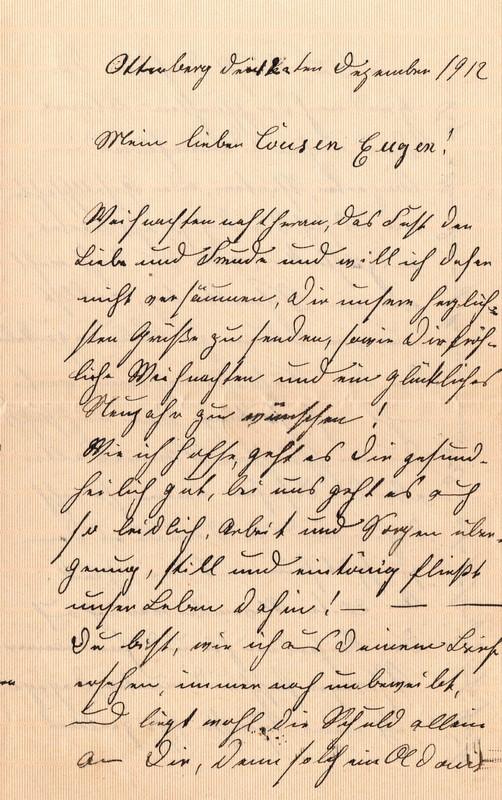 Lenchen Cherdron to Eugen Klee, December, 1912