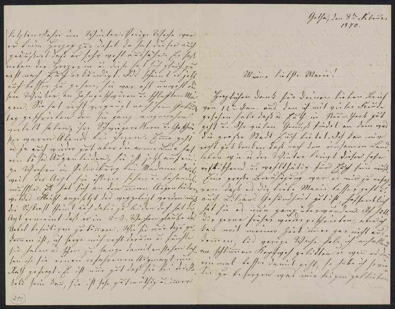 Lina Hansen to Marie Taylor, February 8, 1870