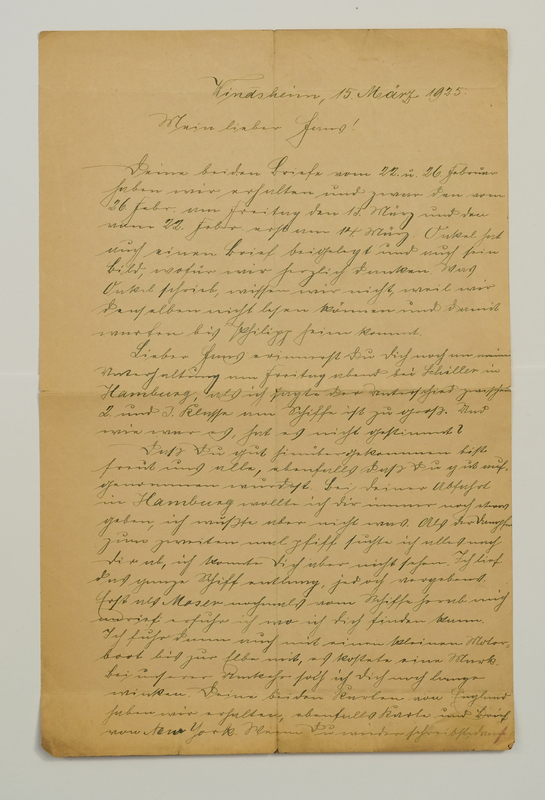 Johann P. Weinhardt to John V. Weinhardt, March 15, 1925