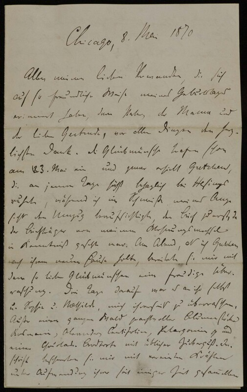 Hermann Raster to Anna Oppenheim, May 8, 1870