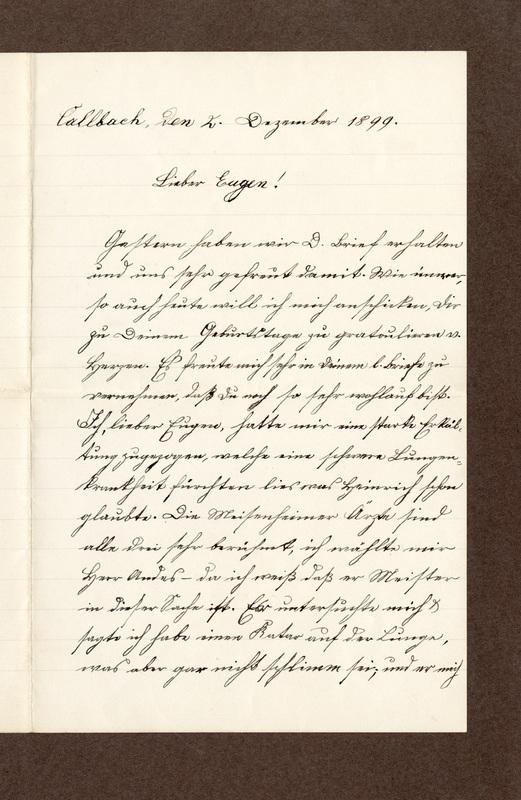 Heinrich Haas to Eugen Klee, December 2, 1899