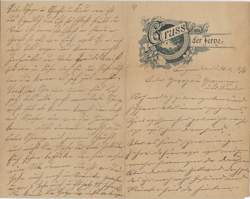 Vieting family letter, November 30, 1896