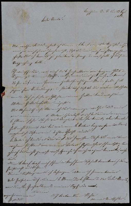Höfeln family letter, 1852