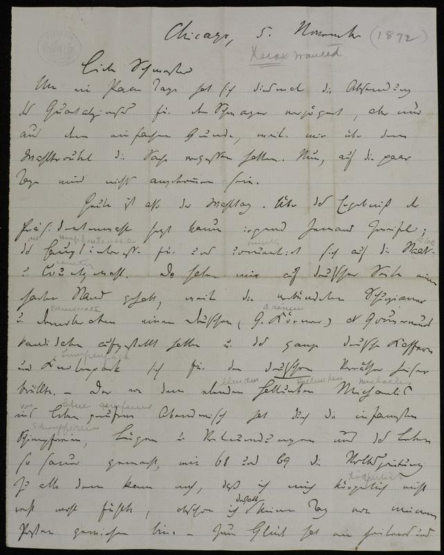 Hermann Raster to Sophie Raster, November 5, 1872
