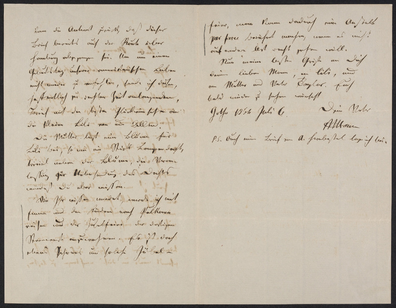 Peter Hansen to Marie Hansen Taylor, July 6, 1866, p. 2 [left-hand] and p. 3 [right-hand]