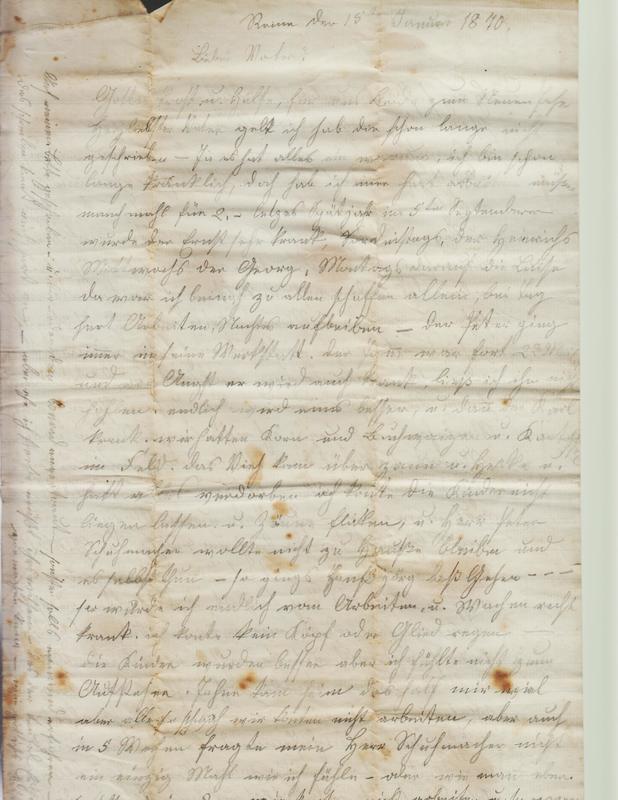Dorothea Schuhmacher to Gottfried Handel, January 15, 1870