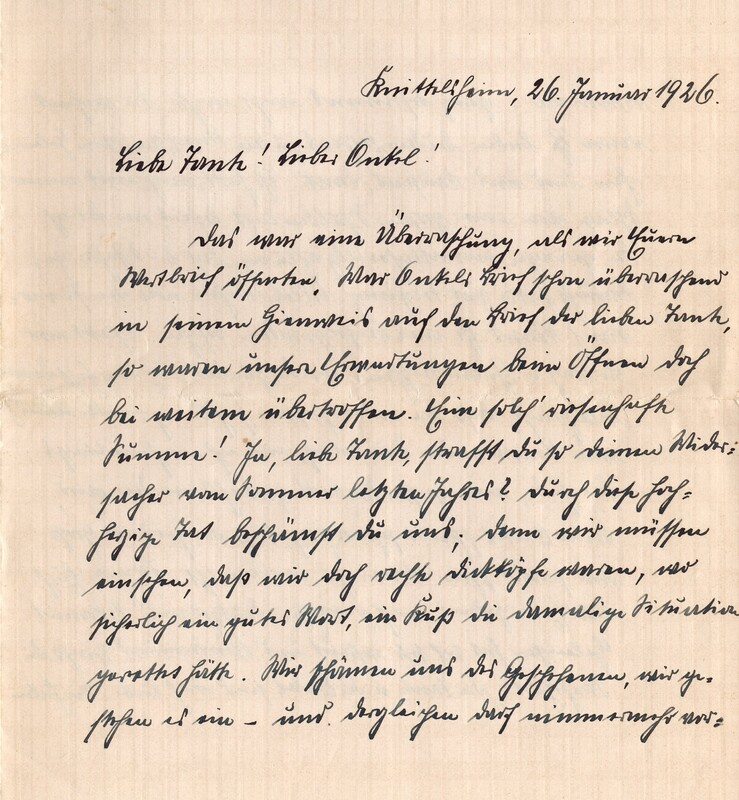 Eugen and Lisbeth Haas to Eugen Klee, January 26, 1926