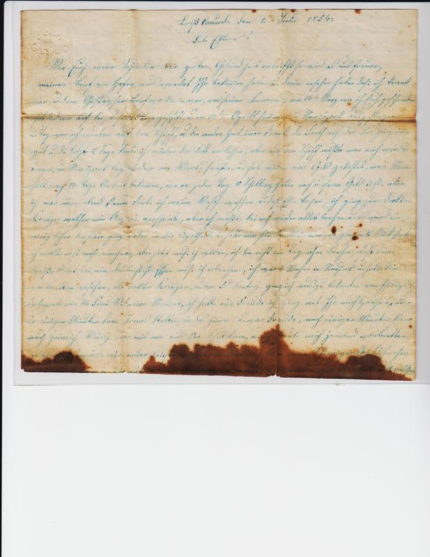 Dorothea and Peter Schuhmacher to Gottfried Handel, June 1, 1854