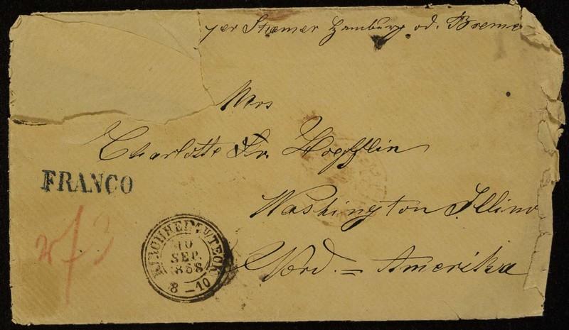 Hofeln family letter, August 15, 1868, envelope (front)